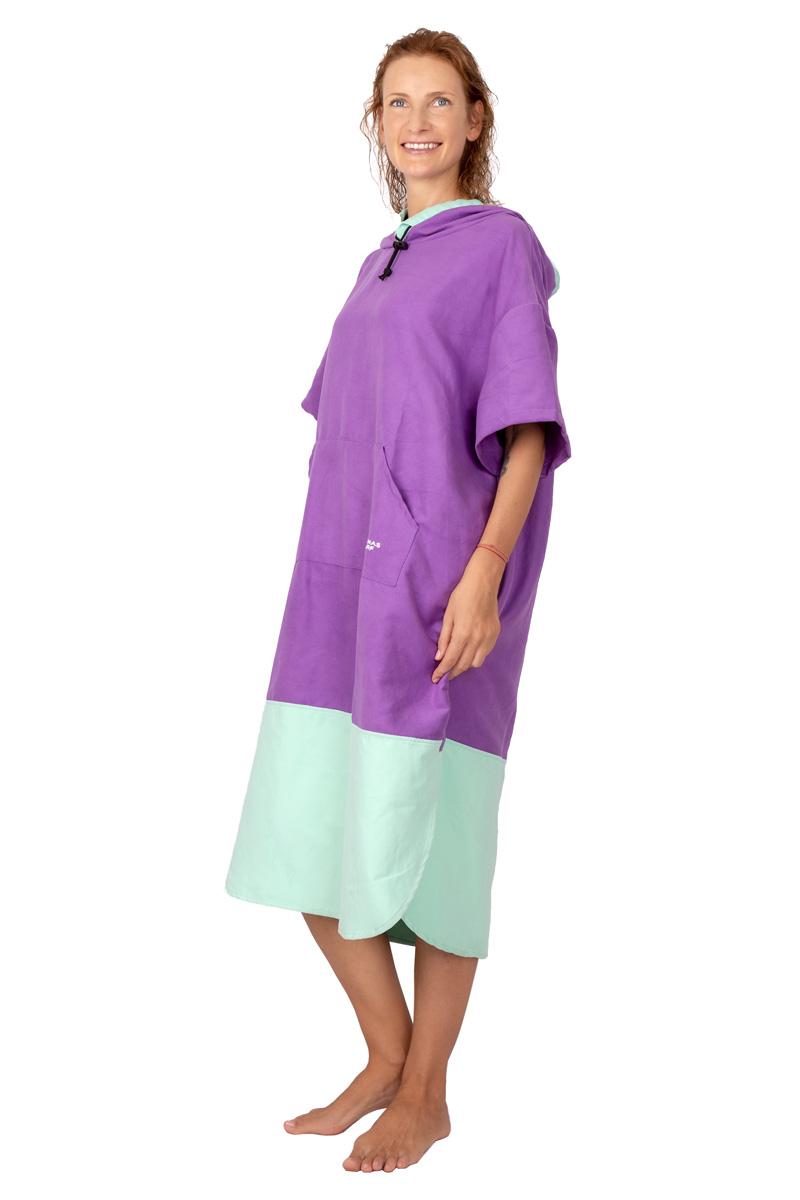 ANANAS SURF microfiber suede cloth womens beach poncho violet